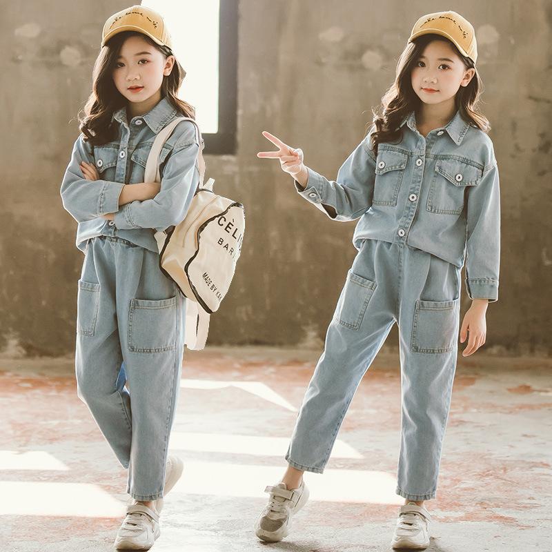 女童牛仔套装2019新款春装女孩子时尚潮牌衬衫韩版洋气长裤两件套,免费领取5元淘宝优惠卷