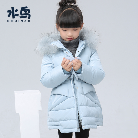 Girls down jacket water bird GS500 winter 6 thickening 7 Korean version 8 long section 9 big children 10 years old children's jacket