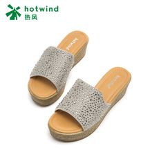 Hot wind 2018 Summer New Elegant Ms. Ms. Wedges Hot drilling Casual slippers Solid color Sandals H55W8210