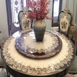 转盘桌圆桌透明桌布折叠桌PVC软玻璃透明水晶板台布餐垫桌垫塑料