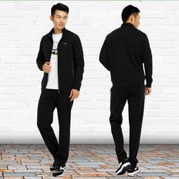 安踏运动套装男装两件套2018秋季新品休闲针织运动服外套跑步裤子