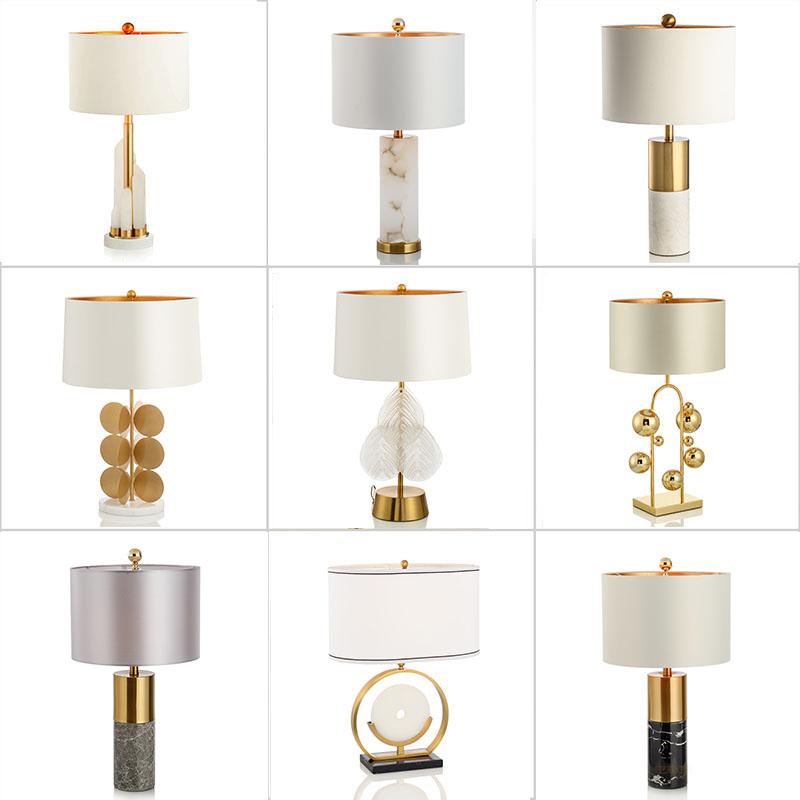 后现代天然云石大理石台灯中式美式简约样板房客厅金属设计师台灯