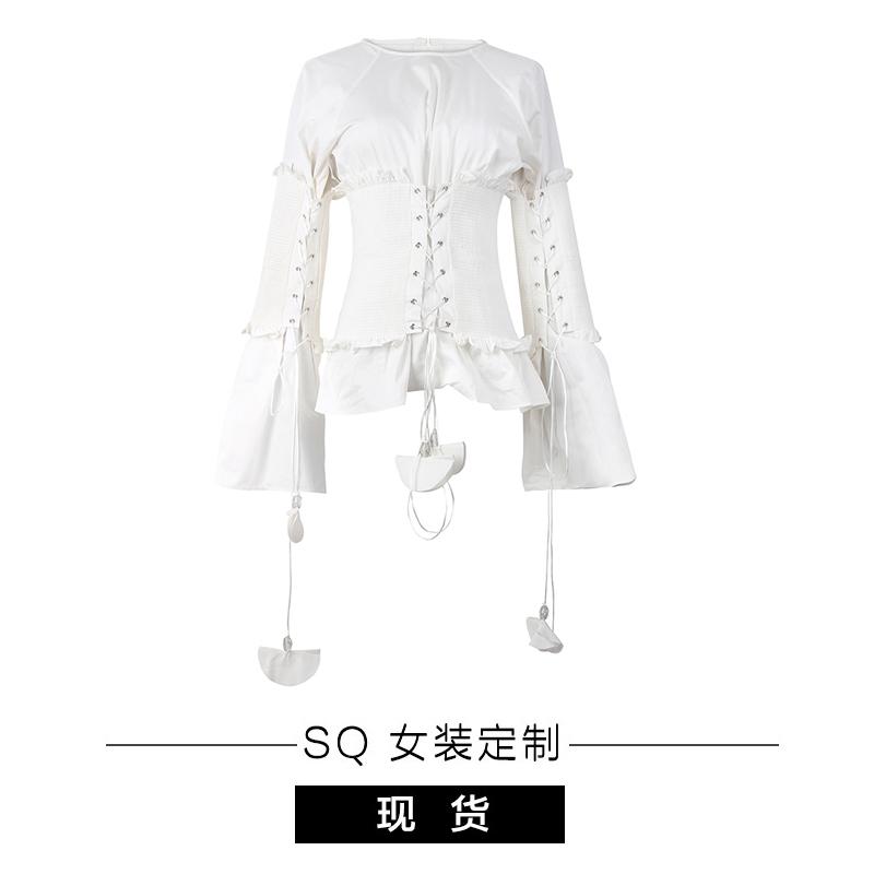 小珊瑚小贝壳般 挂坠式珠子束腰白衬衫 bling~