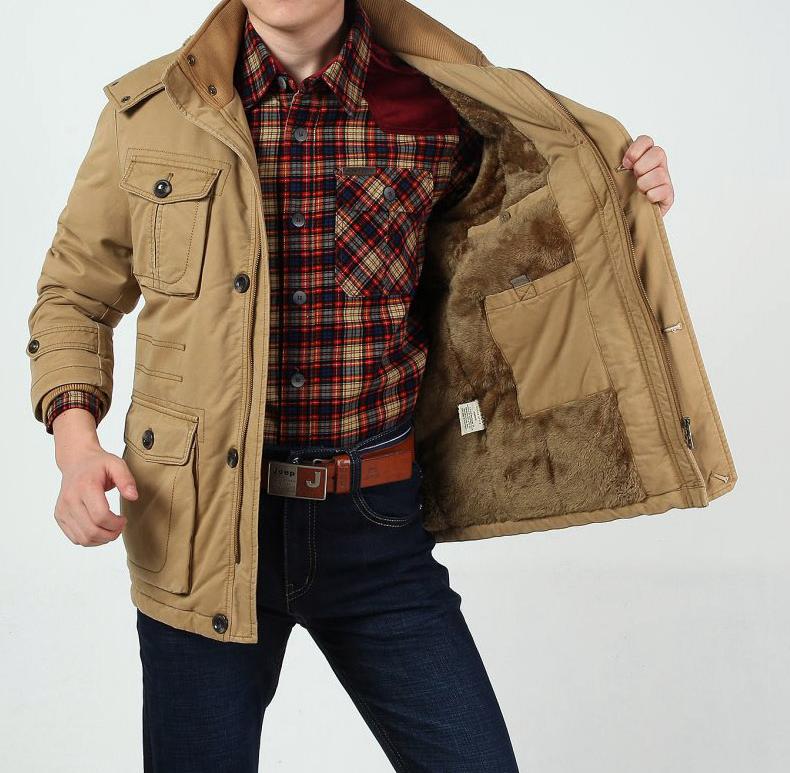 NIAN JEEP冬季棉衣男加绒加厚中长款吉普棉服加肥加大多口袋棉袄