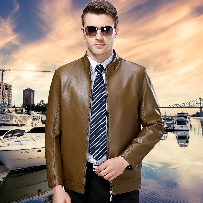 中年商务休闲装男士冬季皮衣外套皮衣30岁青年正装BOSS衣服40岁男