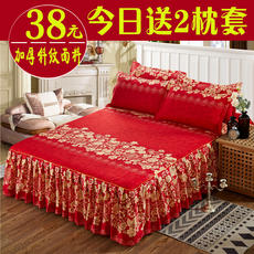 Thick cotton bed skirt three-piece cotton 1.8 m 1.5m bed non-slip mattress cover single bed cover bed set bed 笠