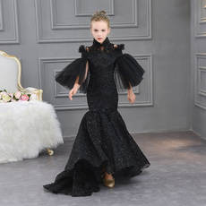 Children's catwalk show original high-end evening dress girl trailing wedding dress big boy host temperament fishtail piano performance