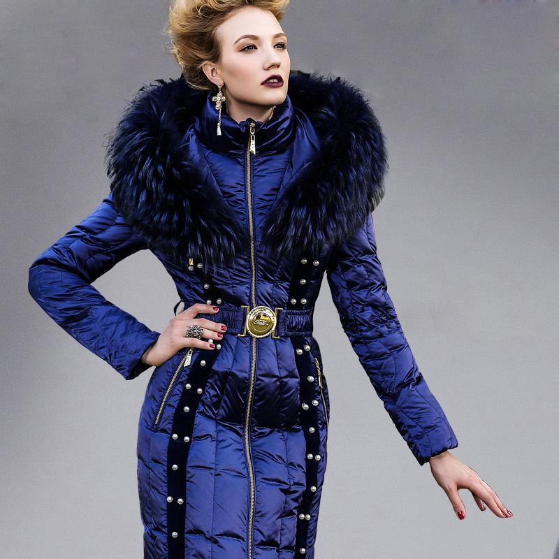 奢华羽绒服女royalcat海之谜秋冬显瘦修身钉珠女士中长款羽绒服女