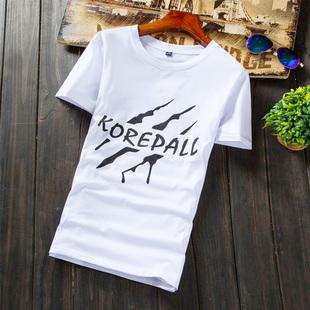 夏季白色印花短袖t恤男士韩版修身青少年半袖体恤潮流男装情侣装