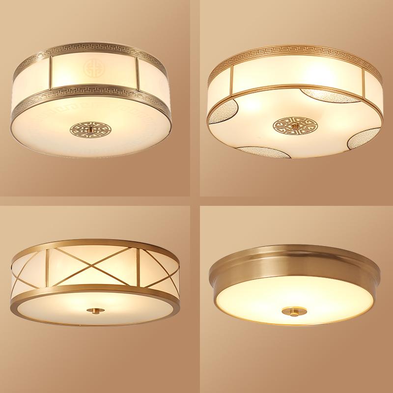 全铜新中式吸顶灯客厅灯古典卧室灯书房灯餐厅灯饰中国风纯铜灯具