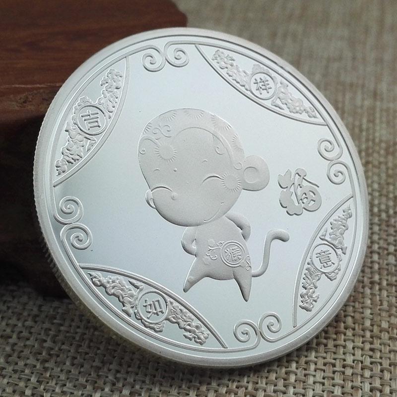 5厘米宝宝出生纪念币999纯银猴年生肖宝宝银饰新生儿出生个性礼物