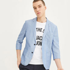 JackJones Jack Jones light and breathable cotton and linen seven-point sleeve suit 217208507