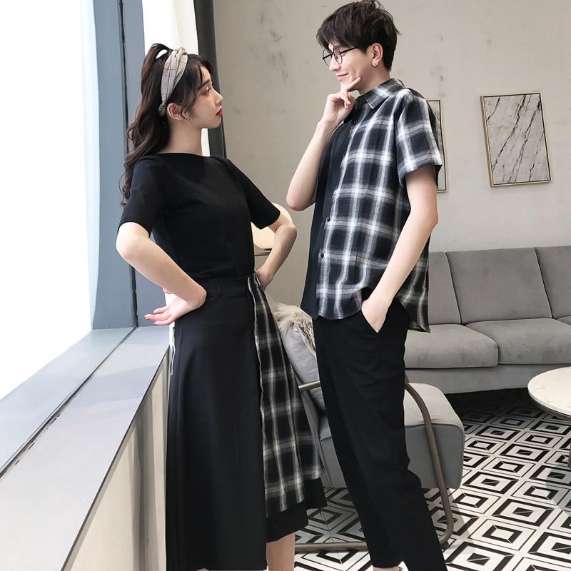 不一样的情侣装春装2019新款韩版格子衬衫夏季女装拼接半身裙套装,免费领取3元淘宝优惠卷