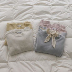 TOMATO SHOP Free Posts Girls' Gentle Colors ~ Small Lazy Soft Clam Round Neck Pullover Sweater