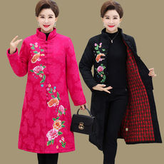 Mother winter cotton and linen jacket middle and old female national wind embroidery flower thick cotton coat large size Tang over the knee cotton jacket