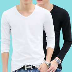 Long-sleeved t-shirt men's bottoming shirt v-neck spring and autumn clothes on the clothes in the spring to wear outside the soil body 桖 ice silk thin section