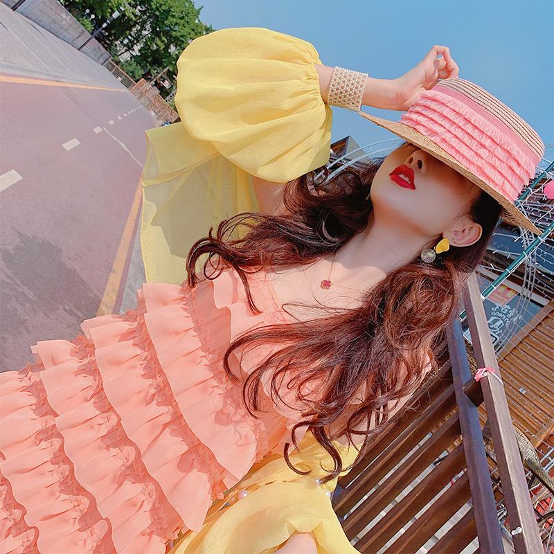 露肩吊带连衣裙夏季新款海滩度假很仙的女神气质层层蛋糕雪纺裙