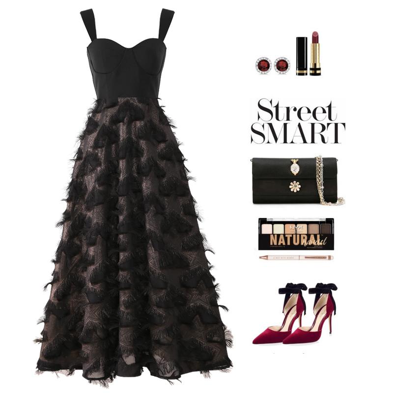 梨兮新款裙子 复古裹胸款睫毛拼接长款连衣裙纯色吊带小礼服高腰