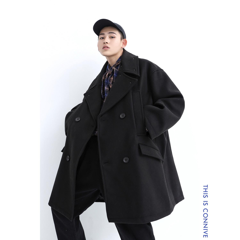CONNIVE 韩版铆钉大翻领羊毛呢子中长款大衣男OVERSIZE宽松外套潮