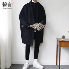 Korea Dongdaemun 2018 winter new Korean youth long section wool coat men's loose woolen coat