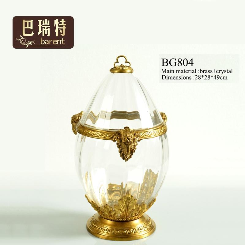 巴瑞特热销欧式复古黄铜家居饰品羚羊水晶摆件