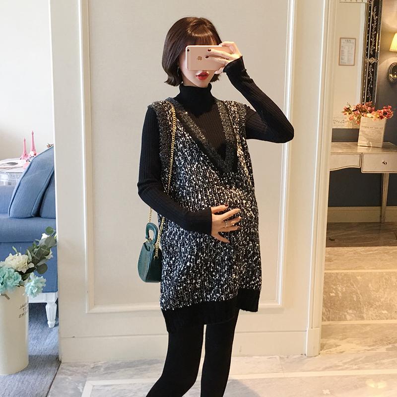 AROOM孕妇毛衣马甲两件套韩版潮妈休闲外出衣服怀孕期套装2018