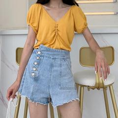 Y+61 韩版夏季新品 高腰牛仔短裤女不规则侧排扣网红毛边阔腿热裤