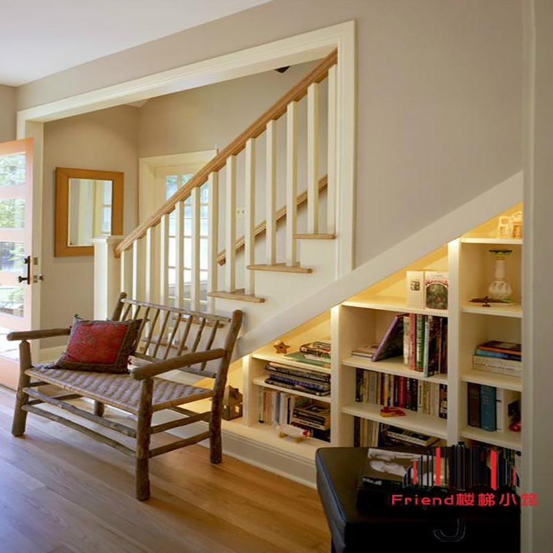 实木楼梯扶手美式简约楼梯白色纯实木护栏楼梯踏步复式楼梯