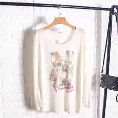 Good series 2017 autumn and summer new women's ladies fashion casual print wild long-sleeved T-shirt 1Y109
