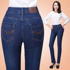 Spring and autumn new mother jeans large size high waist middle-aged jeans female loose stretch straight in the elderly pants