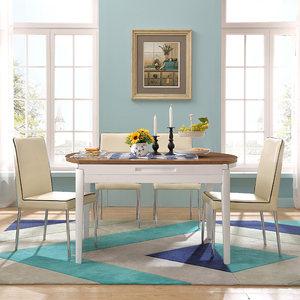 【自营】林氏木业折叠餐桌椅组合小户型多功能可伸缩6人圆桌BI2R