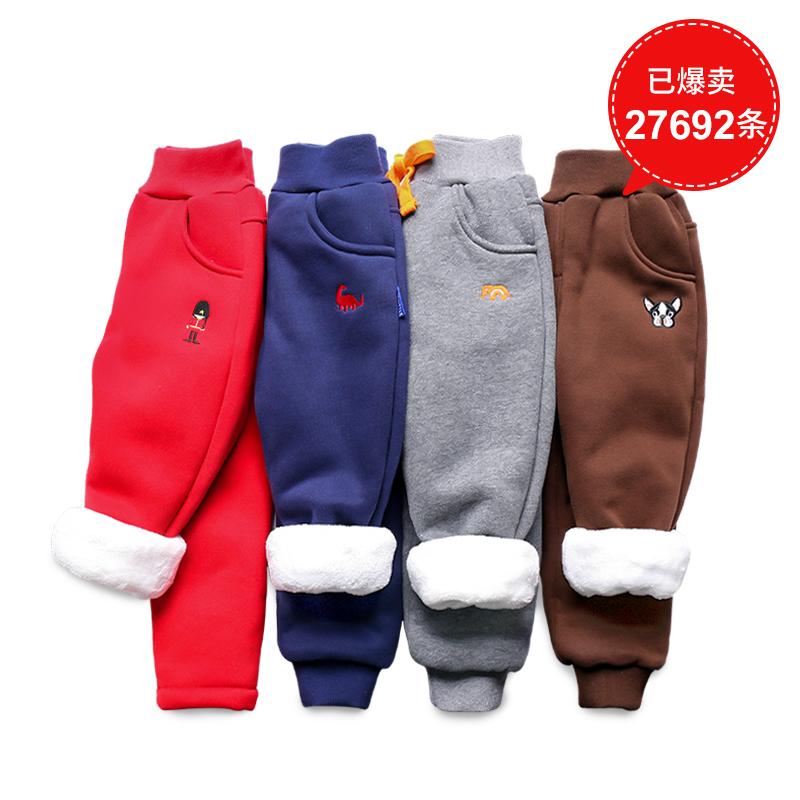 儿童加绒棉裤子冬款宝宝加厚运动裤女童装长裤男童裤子小童保暖裤
