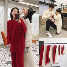 Chen Chen Ma family three red New Year festive parent-child wear loose sweater mother and women imitation water cashmere suit