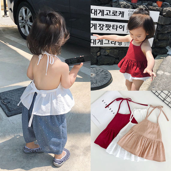 Chenchen mother baby clothes girls summer tide 1-3 years old baby apron summer thin section foreign gas baby care belly button
