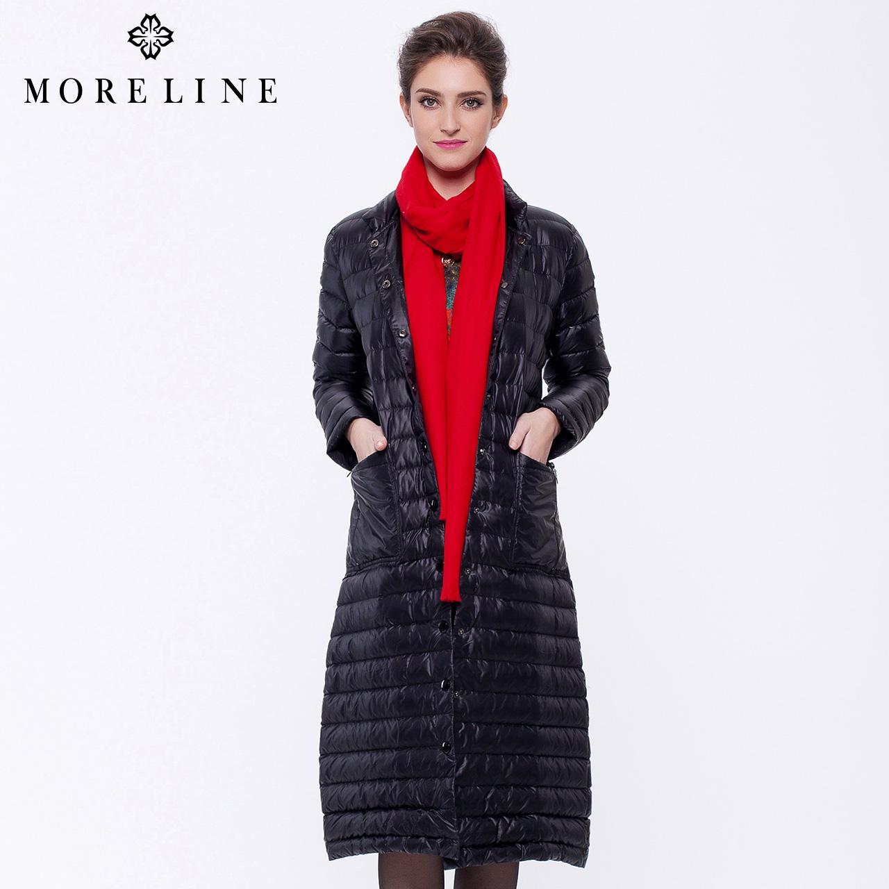 沐兰MORELINE冬季时尚保暖极简优雅修身中长款羽绒服9874001