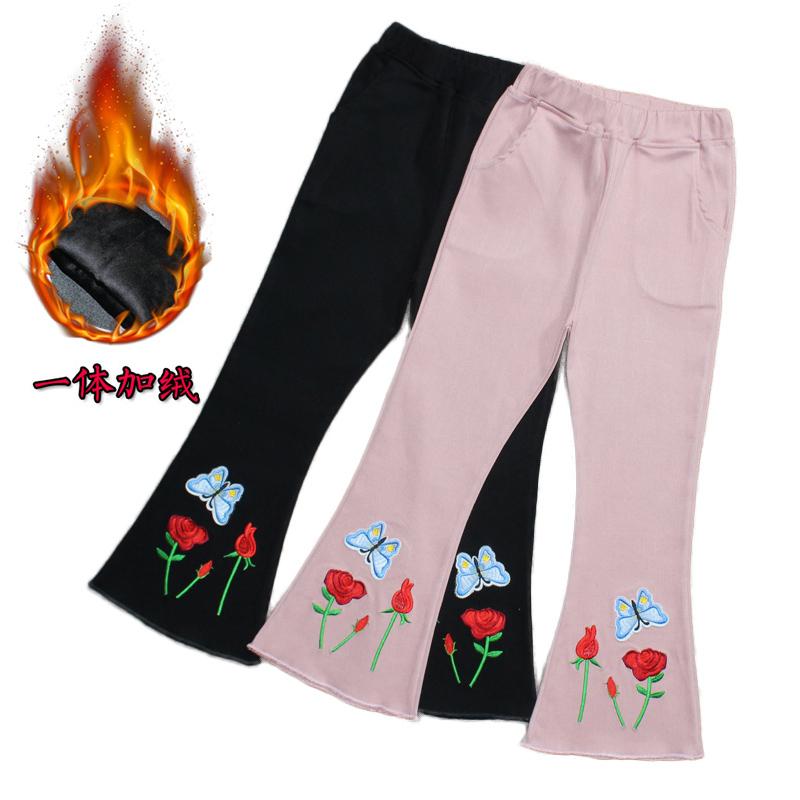 刺绣花春秋款中大童裤子6黑色儿童喇叭裤7百搭8修身9时尚10岁弹力