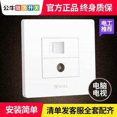 Bull TV computer socket wall cable closed circuit network cable network port two-in-one combination panel switch box