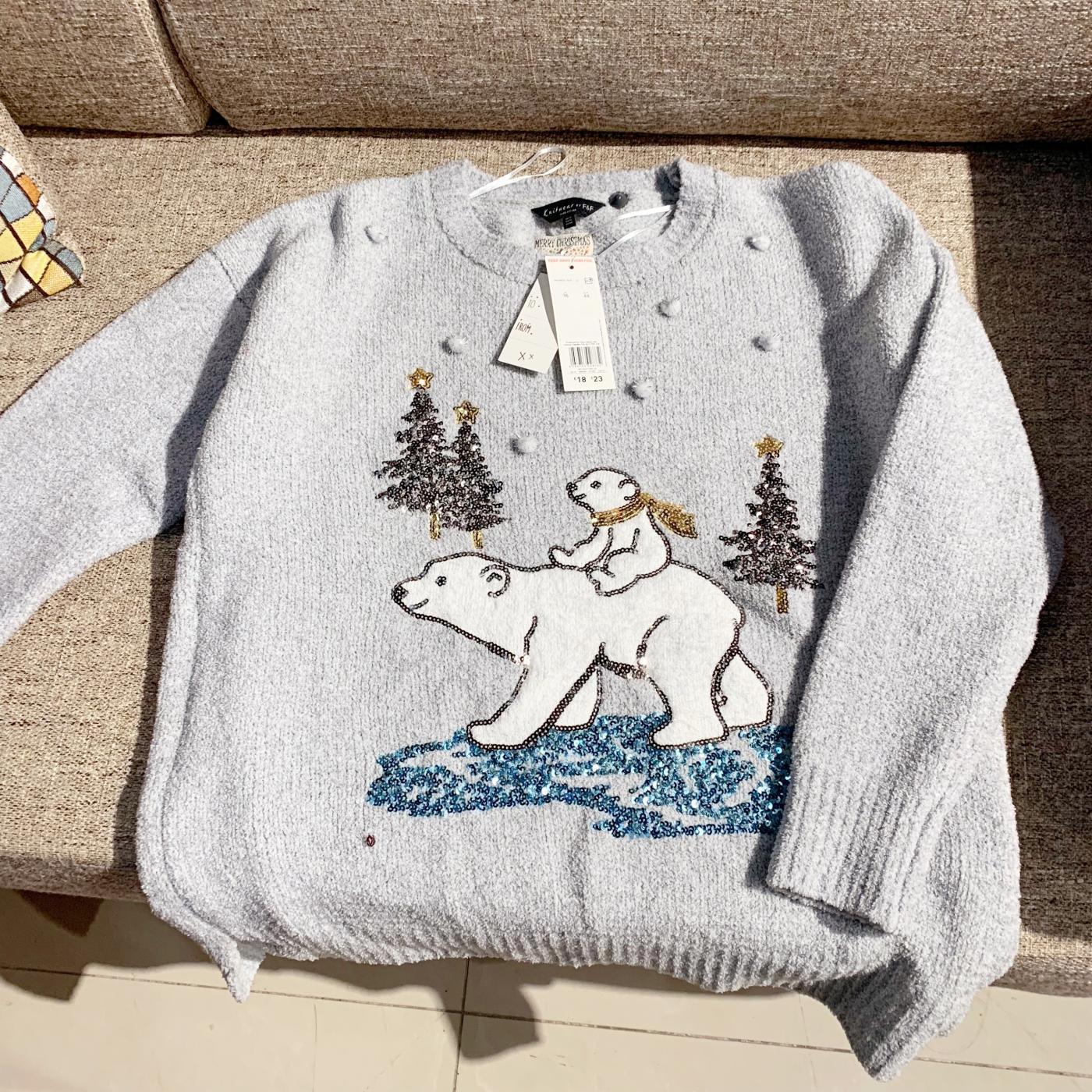 【圣诞】超软可爱重工刺绣亮片软妹北极熊毛衣 复古宽松保暖毛衣