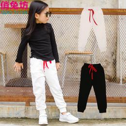 春季童装女童秋冬装新款韩版纯棉黑色休闲运动长裤子中大儿童白色