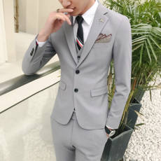 Autumn and winter new Korean version of the handsome self-cultivation suit solid color men's suit jacket single West fashion casual wedding shirt