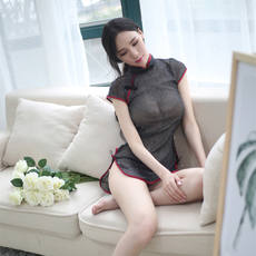 Shiny silver cheongsam sexy transparent dress nightclub skirt meat leaf student wife skirt night dress outdoor