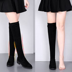 Spring and autumn new boots female over the knee students wild black stovepipe stretch boots flat bottom with Korean women's shoes winter