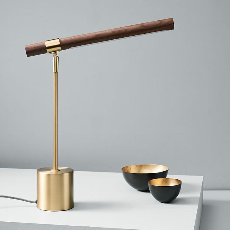 意大利设计师木纹铜色北欧简约卧室床头书桌软装样板房酒店台灯