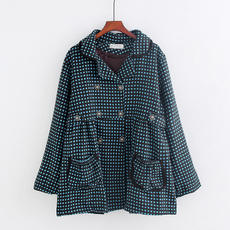 Autumn new fashion big size loose A word version dot print mother loaded fat MM thin waist short coat