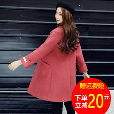 2017 winter new style 昵nizi middle section women's long double-sided coat small short woolen coat clothes