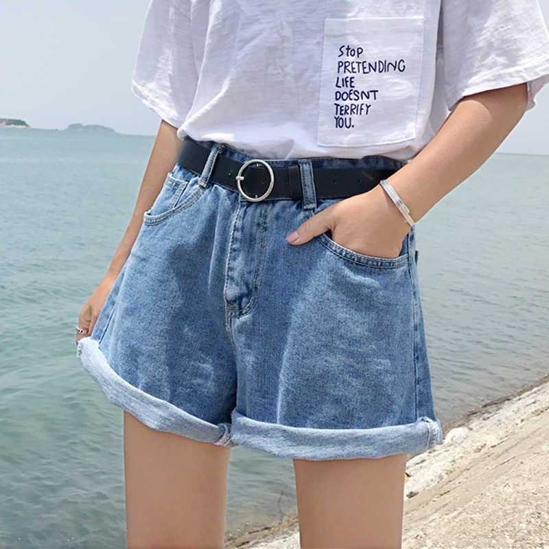 裤子2019春季韩版chic高腰宽松显瘦休闲阔腿裤学生热裤女装牛仔裤
