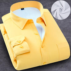 Winter warm long-sleeved shirt male youth business professional tooling yellow twill shirt male plus velvet thick shirt