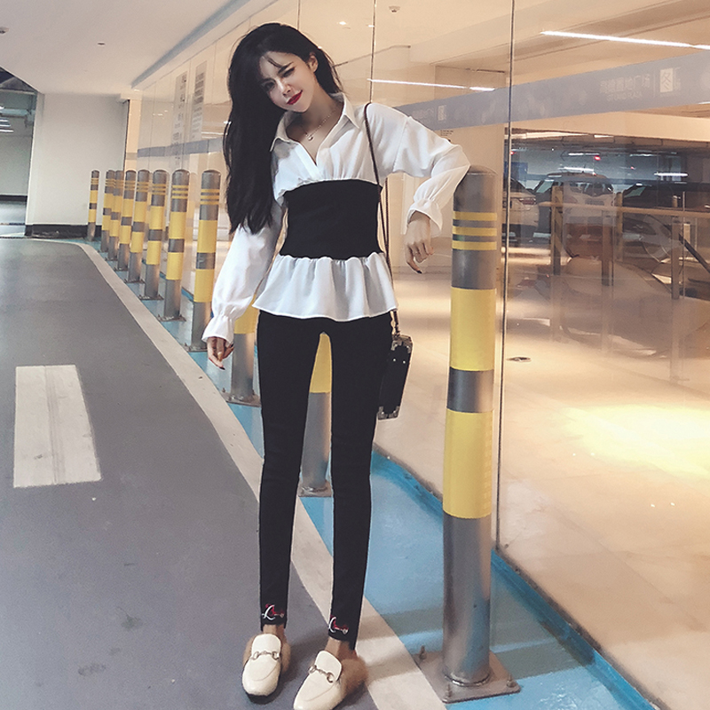 小萌猫 秋装新款气质撞色拼接收腰修身长袖衬衫+修身小脚裤套装女