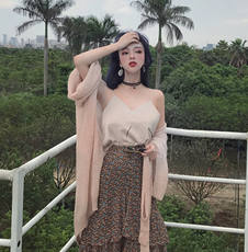 Lazy wild gentle temperament cardigan jacket female sun protection clothing shawl belt belt + floral skirt + strap