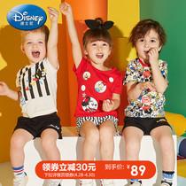 迪士尼童装宝宝装男女童洋气短袖t恤短裤儿童套装2019夏装婴幼童